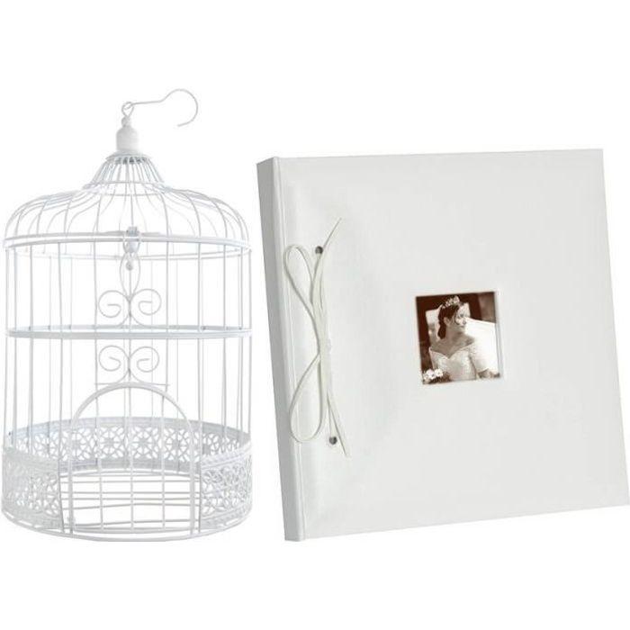 1 Pack mariage avec urne cage et livre d'or blanc REF/3871-2909