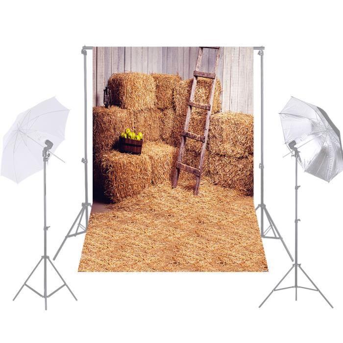Andoer 1.5 * 2.1 m Ferme Photographie Fond Paille De Foin Pile Échelle Toile de Fond Photo Studio Props