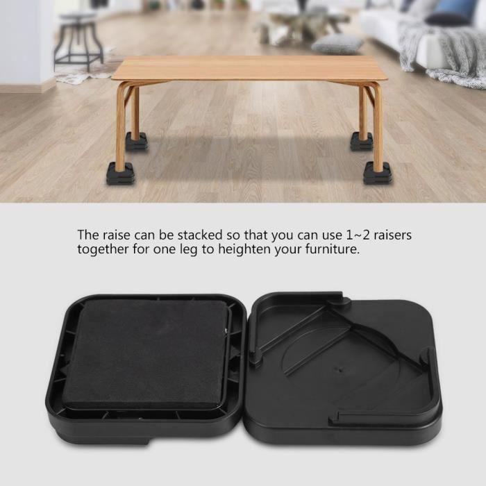 8Pcs Pied de meubles Riser de fourniture Réhausseur de meuble Lit - Table - Bureau - Canapé-Chaise YES2