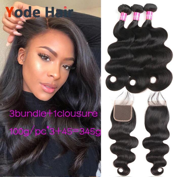 Malaisien body wave Hair 3pcs 161616pouces Avec 4x4 closure 12pouces Hair Huamn Tissage Non Remy Hair