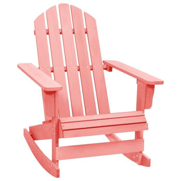 Chaise à bascule de jardin Adirondack Bois de sapin massif Rose LEU96