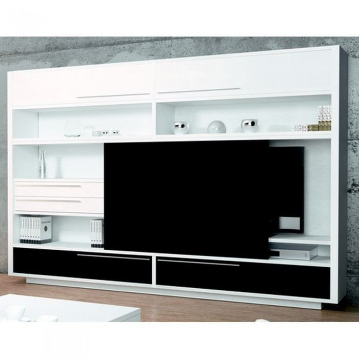 Meuble tv mural big white slide mati re m lamin achat vente meuble tv meuble tv mural big - Meuble tv mural cdiscount ...
