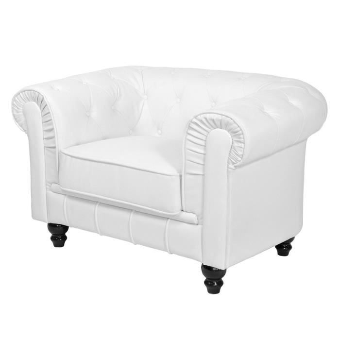 Fauteuil chesterfield blanc capitonne achat vente fauteuil simili cuir - Fauteuil blanc capitonne ...
