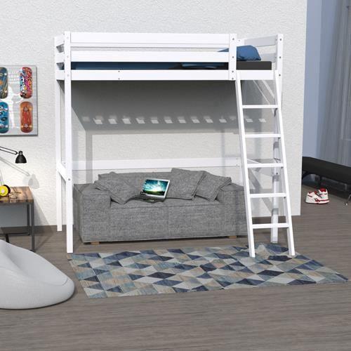 LIT MEZZANINE Lit mezzanine STUDIO 90x200 + 1 sommier / Blanc