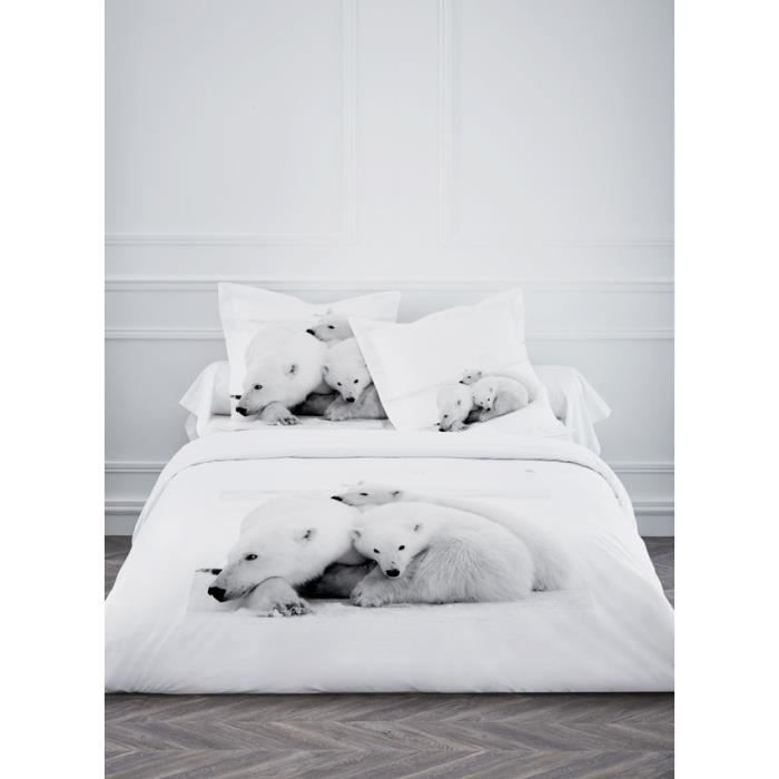 housse de couette 220x240cm 100 coton ours polaire blanc 2 taies achat. Black Bedroom Furniture Sets. Home Design Ideas