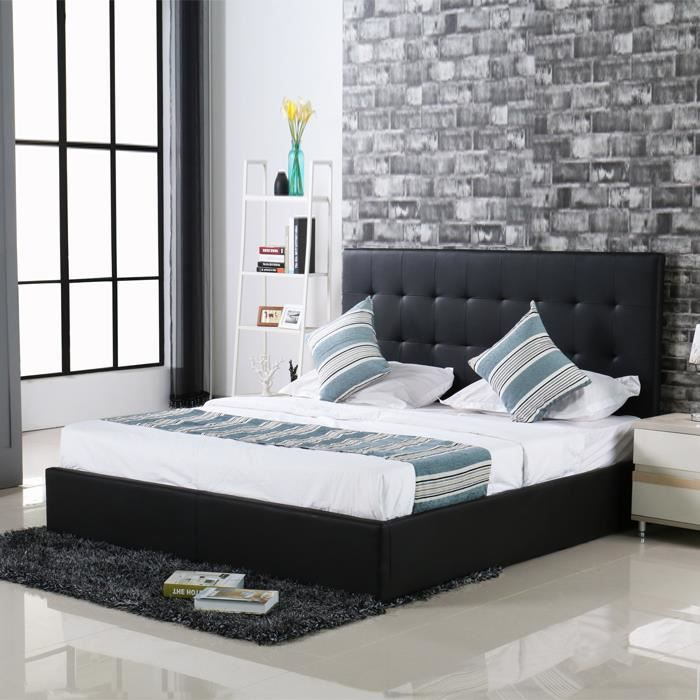 lit avec coffre de rangement noir et sommier 140 x 200 cm. Black Bedroom Furniture Sets. Home Design Ideas