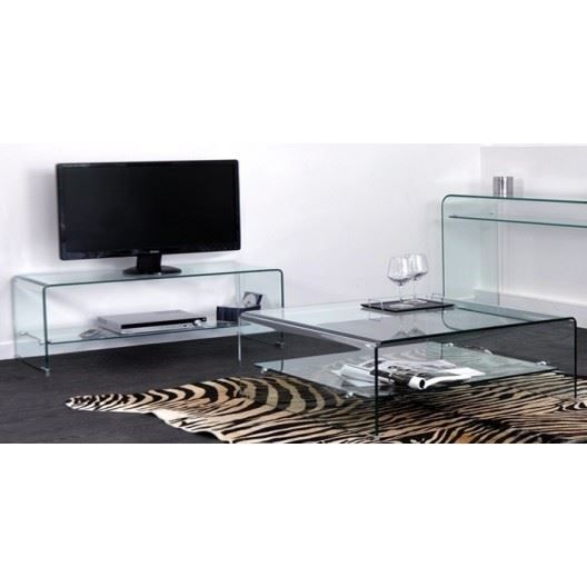 meuble tv et table basse rectangulaire glass achat. Black Bedroom Furniture Sets. Home Design Ideas