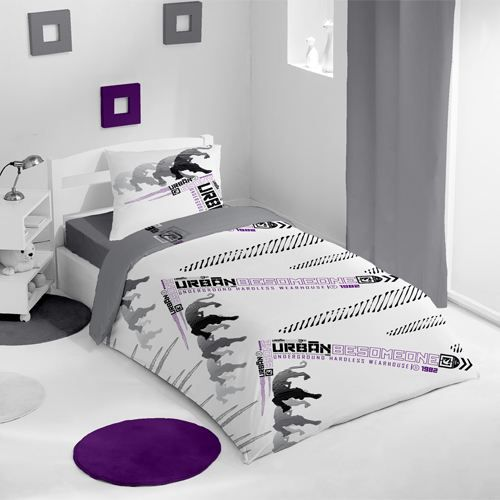 housse de couette et une taie be someone violet achat. Black Bedroom Furniture Sets. Home Design Ideas