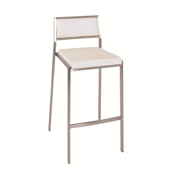 lot de 2 tabourets de bar alena inox blanc achat vente tabouret de bar inox cuir cdiscount. Black Bedroom Furniture Sets. Home Design Ideas