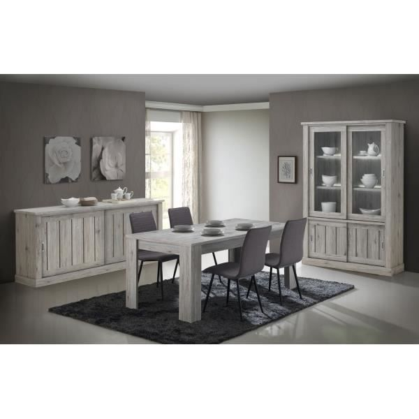 salle manger compl te contemporaine yvan table l 190 x p 90 x h 75 cm ch ne rustique. Black Bedroom Furniture Sets. Home Design Ideas
