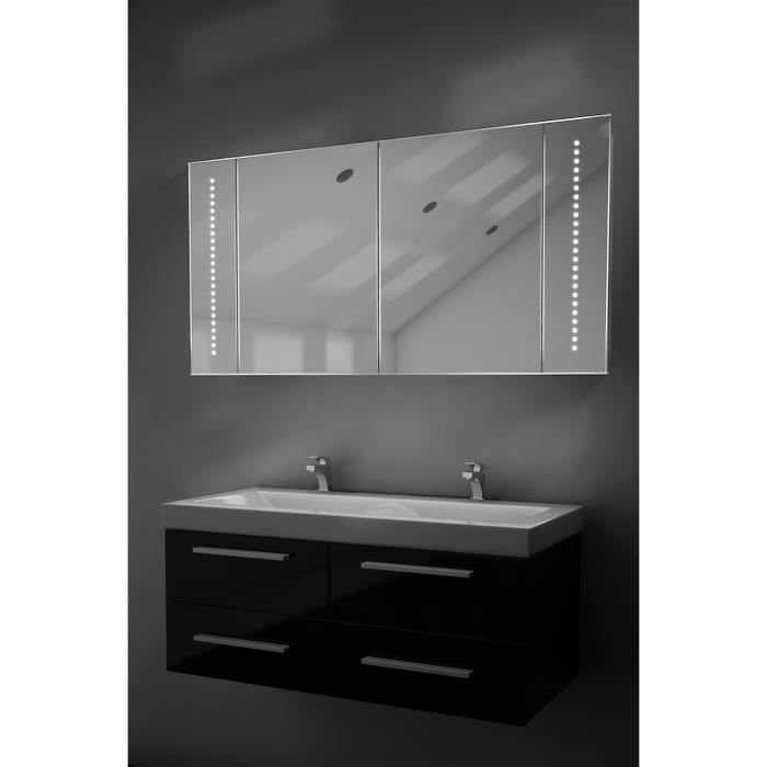 armoire de toilette avec miroir musical bluetooth prise rasoir capteur k125aud taille l. Black Bedroom Furniture Sets. Home Design Ideas