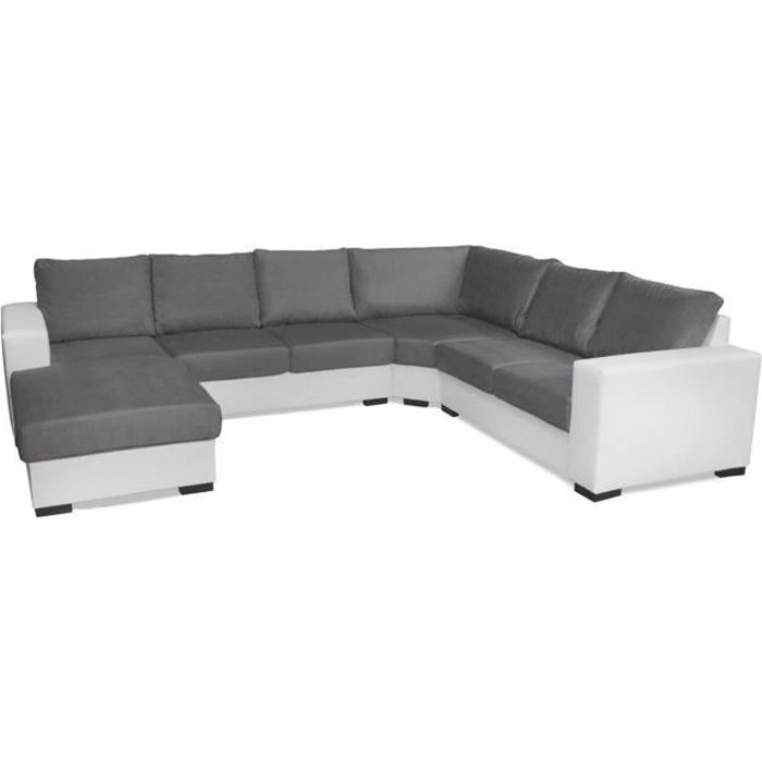 canap d 39 angle 6 places oara en u pas cher gris et blanc achat vente canap sofa divan. Black Bedroom Furniture Sets. Home Design Ideas