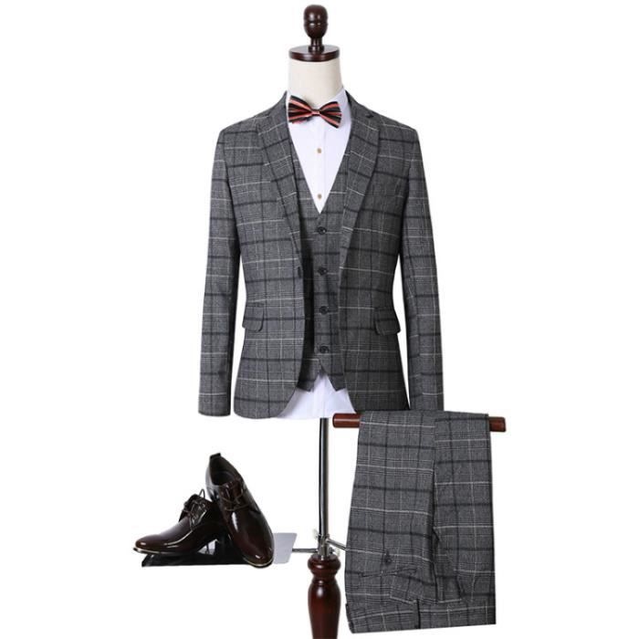 costume homme mariage pantatlon gilet veste d affaires gris gris gris achat vente. Black Bedroom Furniture Sets. Home Design Ideas