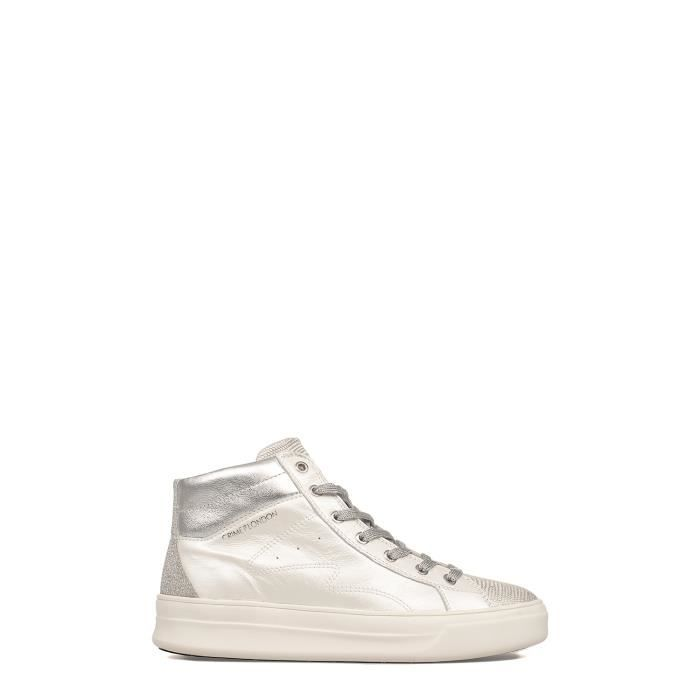 CRIME LONDON FEMME 25020KS110 ARGENT/BLANC CUIR BASKETS MONTANTES