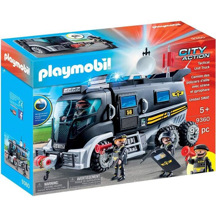 FIGURINE - PERSONNAGE PLAYMOBIL 9360 - City Action - Camion policiers d'