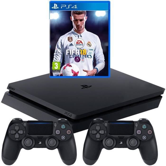 sony playstation ps4 1 to 2 manettes jeu fifa 18 achat vente console ps4 sony. Black Bedroom Furniture Sets. Home Design Ideas