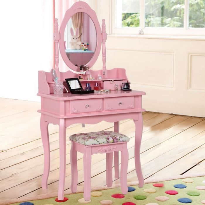 songmics coiffeuse table de maquillage rose avec tiroirs. Black Bedroom Furniture Sets. Home Design Ideas