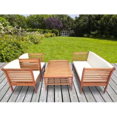 Salon de jardin MINDANAO en bois d\'eucalyptus : 1 canapé, 2 ...