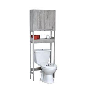 MEUBLE ÉTAGÈRE Meuble dessus WC bois gris Parisienne