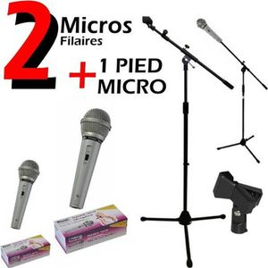 PACK SONO 2 Micros + 1 Pied Micro très robuste IBIZA SOUND S