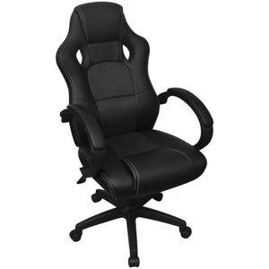 CHAISE DE BUREAU Chaise de bureau en cuir artificiel Noir Fauteuil