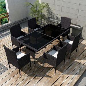SALON DE JARDIN  7 pcs Jeu de mobilier de jardin Ensemble table cha