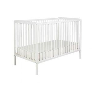 LIT BÉBÉ Lit bébé à barreaux 60x120 en bois blanc   matelas