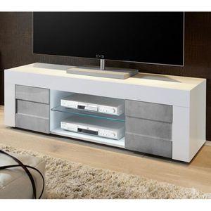 MEUBLE TV Meuble TV 2 portes 138 cm Blanc-Béton - TRANI - L