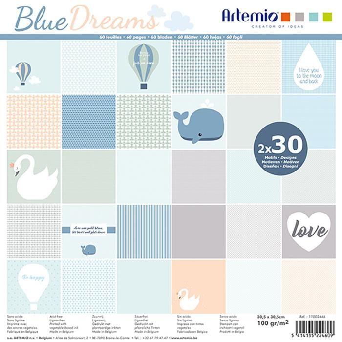 """Bloc de 60 feuilles de papier scrapbooking 30x30 cm """"Blue Dreams"""" d'Artemio"""