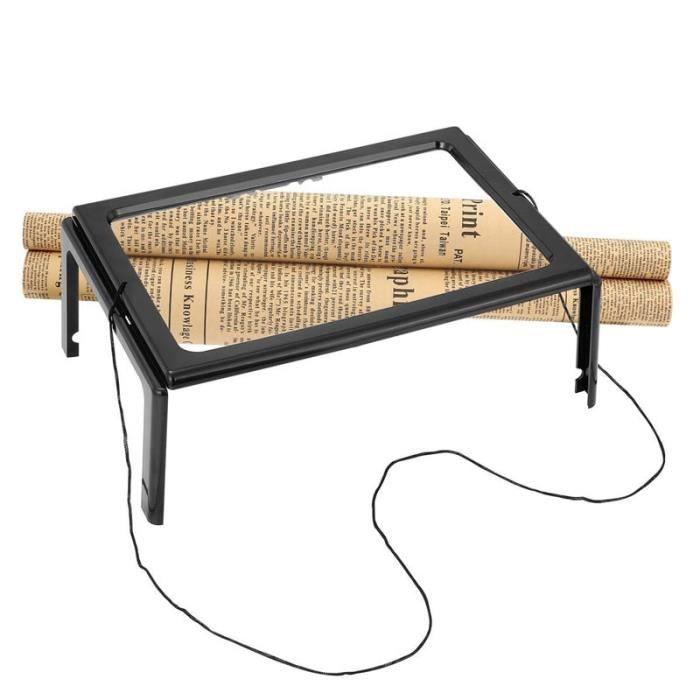 Loupe de lecture 3X, loupe pliable éclairée par LED lampe de lecture mains libres rectangulaire pleine page