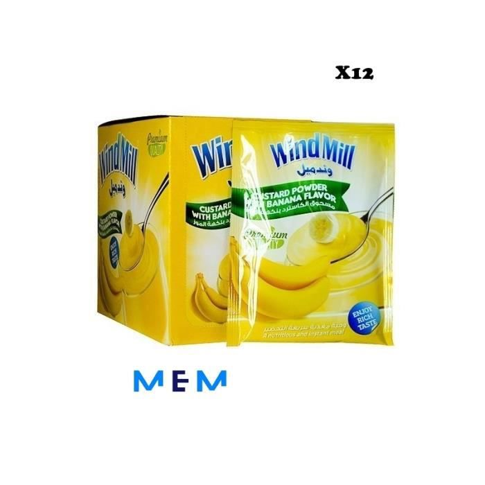 Poudre de pudding à la crème saveur banane WINDMILL (x12 sachets)