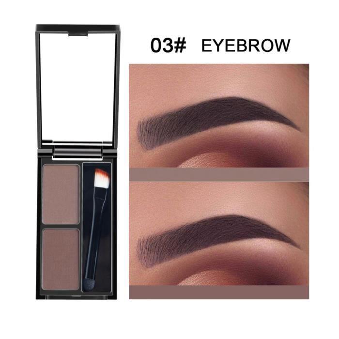 crayon à sourcils Kit d'ombrage cosmétique de palette de sourcil de poudre de sourcil de 2 couleurs avec le miroir de brosse C
