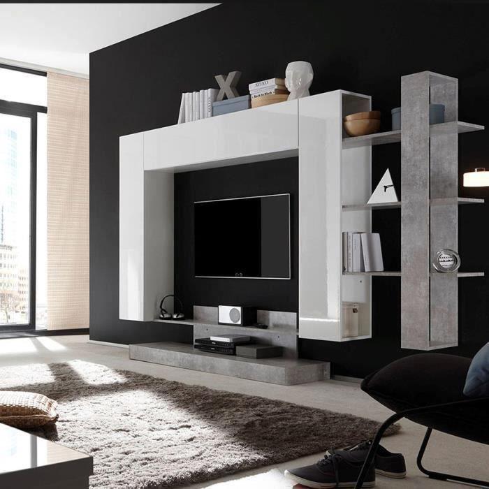 Ensemble TV mural design blanc laqué et gris BALBINA Blanc L 258 x P 42 x H 165 cm