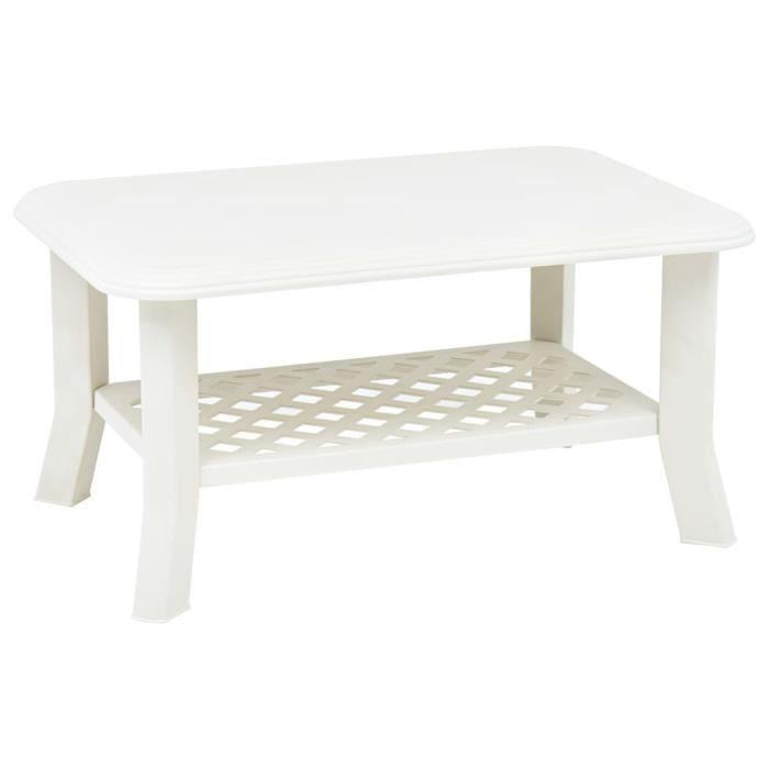 Jardin*8561Elégant -Table basse décor scandinave - Table de salon Bout de canapé Table de séjour Blanc 90 x 60 x 46 cm Plastique