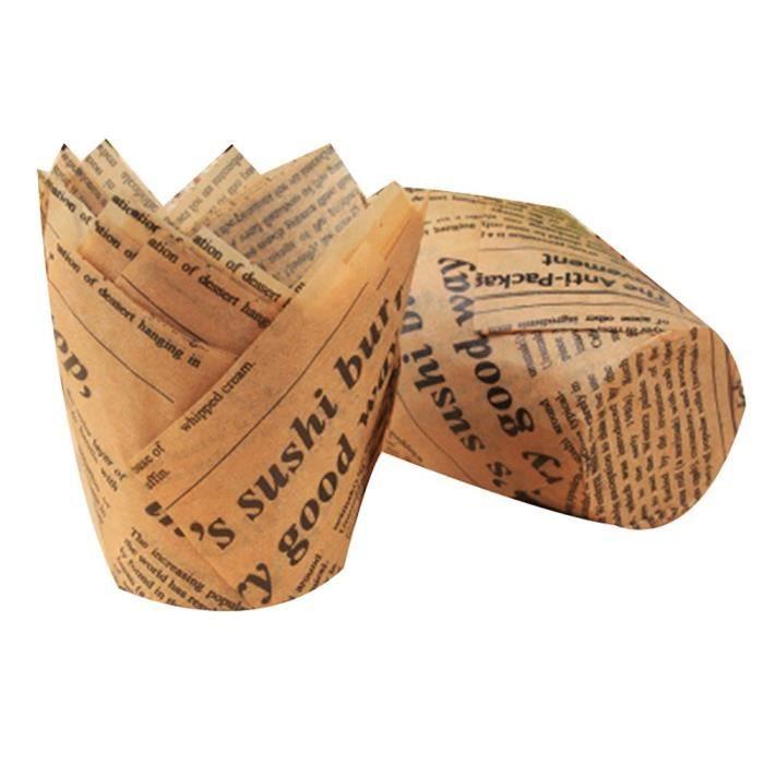 MC7898 Gobelets en papier pour la cuisson des tulipes ~Jaune clair