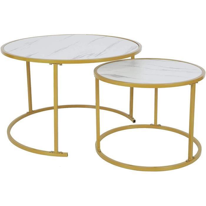 2 PCS Tables Basses Gigognes Rondes pour Salon Bureau Table d'appoint Design Moderne Bout de Canapé en Acier + Panneau de Par 276