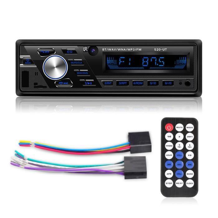 12v Autoradio 12V-24V, Bluetooth, 1din, lecteur stéréo, téléphone, Interface AUX ISO, MP3, FM, USB, radio, té