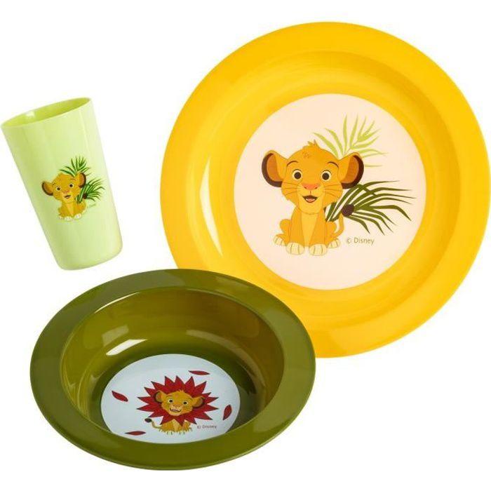 DISNEY Coffret repas 3 pièces Roi lion : assiette, bol et gobelet - En polypropylène