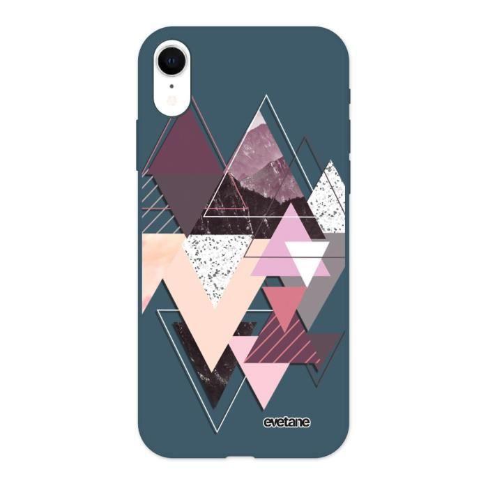 Coque pour iPhone Xr Silicone Liquide Douce bleu nuit Triangles Design Ecriture Tendance et Design Evetane