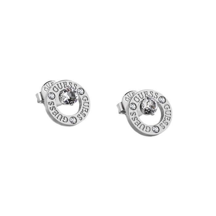 Boucled'oreille GUESS tout autour rhodium anneau en acier inoxydable plaqué Vous UBE20134 logo en cristal Swarovski