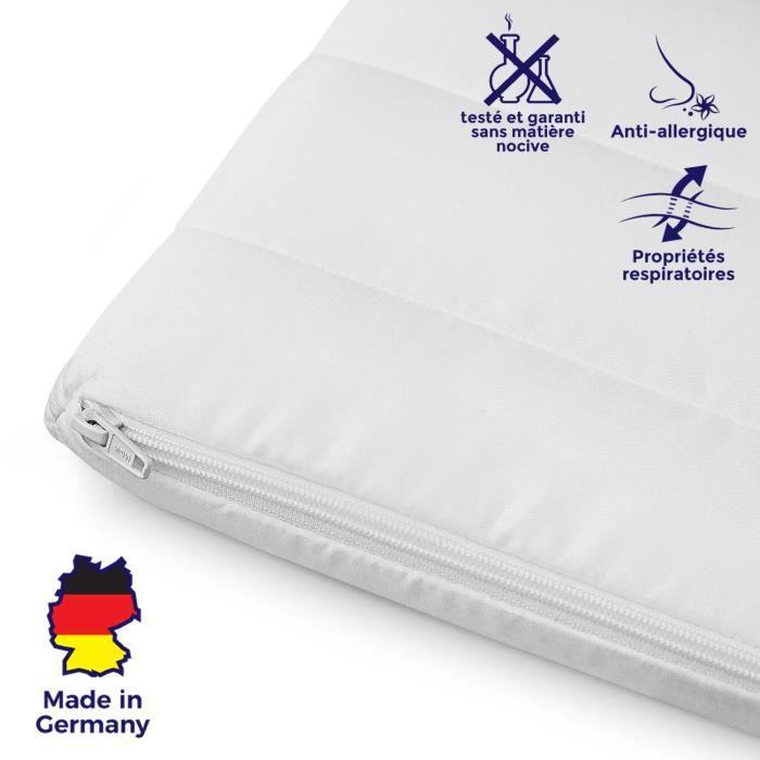 Surmatelas 140x190 cm mousse confort housse microfibre sur-matelas 140x190 ferme et moelleux pour un sommeil réparateur épaisseur 5