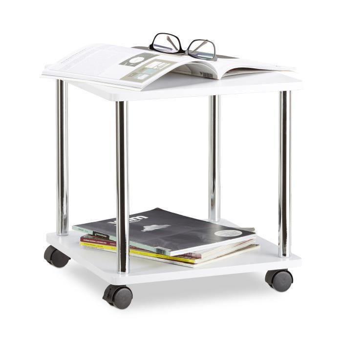 Relaxdays Table d'appoint blanche à roulettes table basse fleurs plantes desserte chariot, blanc - 4052025959609
