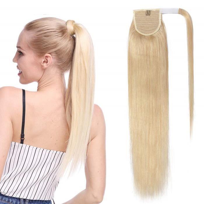 Extension En Queue de Cheval Lisse Cheveux Humain Naturel Clip In Ponytail Extension Wrap Around Facile A Porter - 20 Pouces[#613