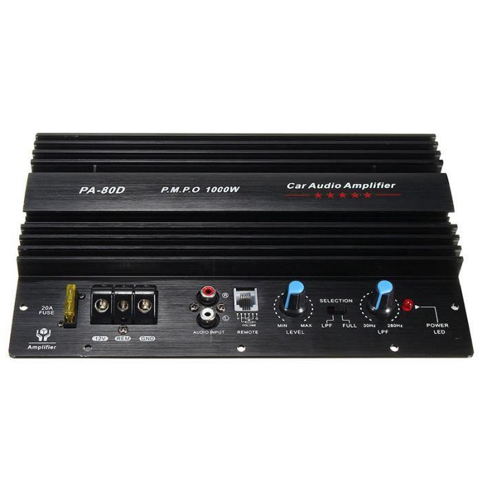 12V 1000W Mono audio de voiture Amplificateur Basses puissantes Subwoofers Amp PA80D