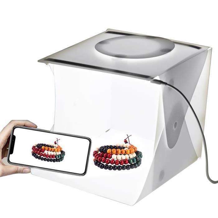 Mini boîte à lumière pliante pour studio photo avec double bande LED et 6 toiles de fond