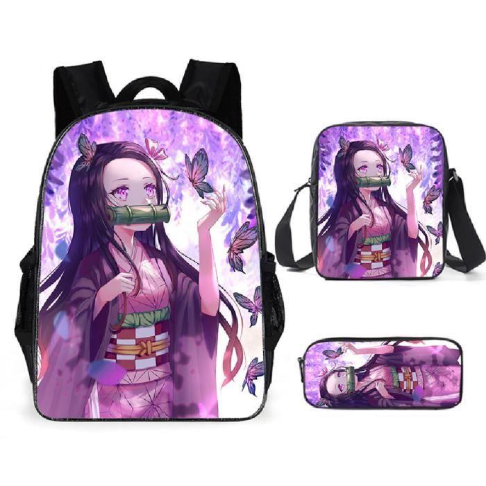 Demon Slayer Sacs D'école Cool Garçons Filles Anime Sac À Dos Scolaire Tueur de démons Enfants Backpack A34