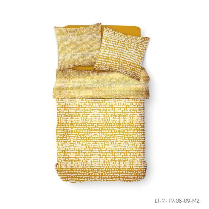 Parure de lit 2 personnes 240X260 Coton imprime jaune Ethnique SUNSHINE