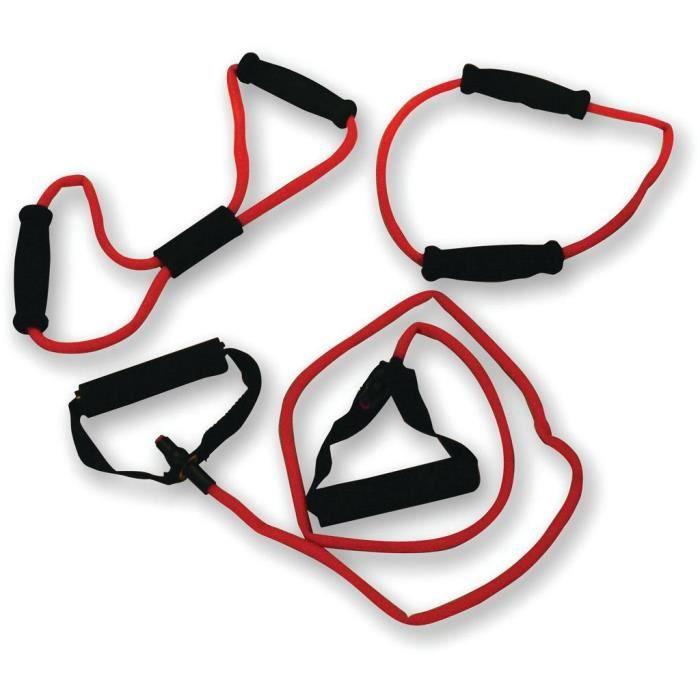 TUNTURI Set élastiques de musculation tubing fort avec grip, rouge