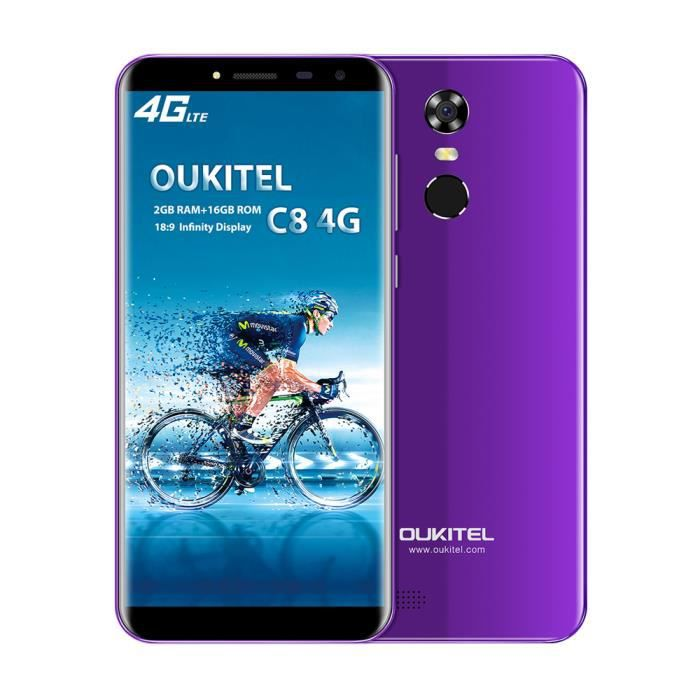 oukitel c8 4g smartphone 5 5 pouces hd 18 9 mt6737 quad core 1 3 ghz fingertprint touch id 2gb. Black Bedroom Furniture Sets. Home Design Ideas