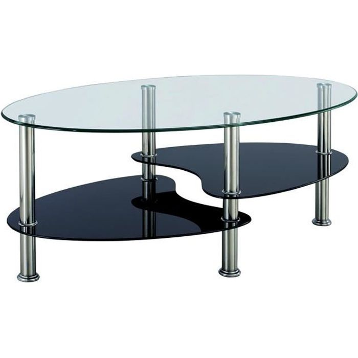Table basse noir et blanc en verre tremp ovale opunake - Table salon verre trempe ...